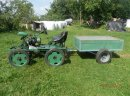 Ciągniczek traktorek z przyczepką, radłami znacznikiem i płużkami